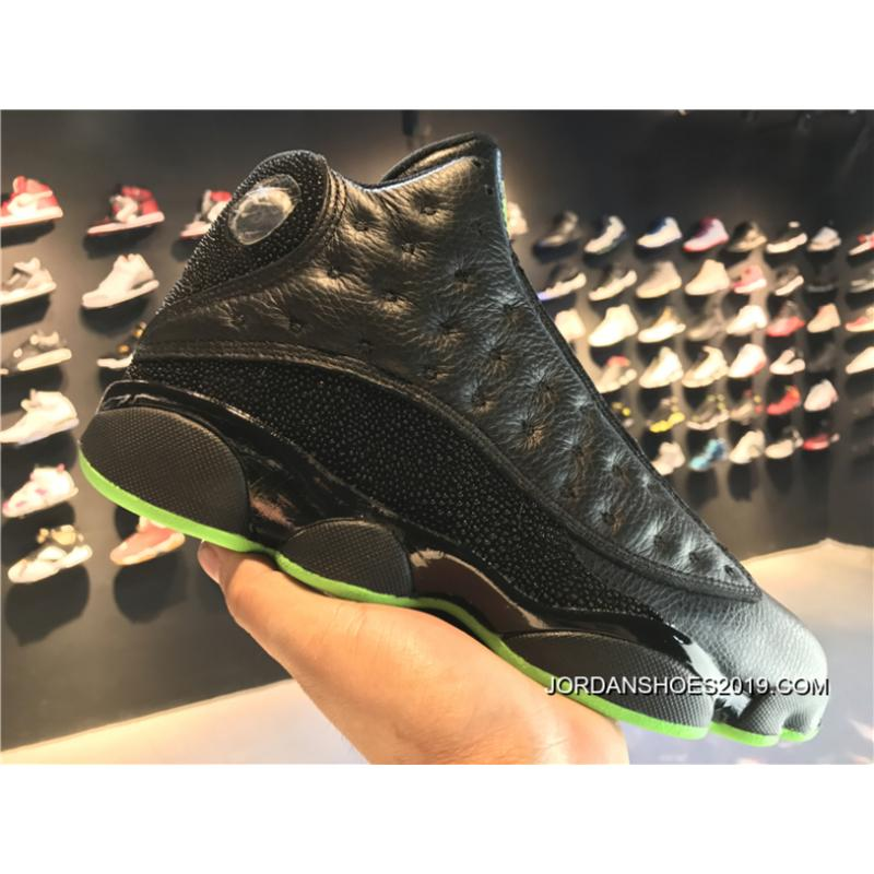 08235d2dec38 ... 2019 Discount Nike Air Jordan 13 Retro Altitude Black Green Free  Shipping ...