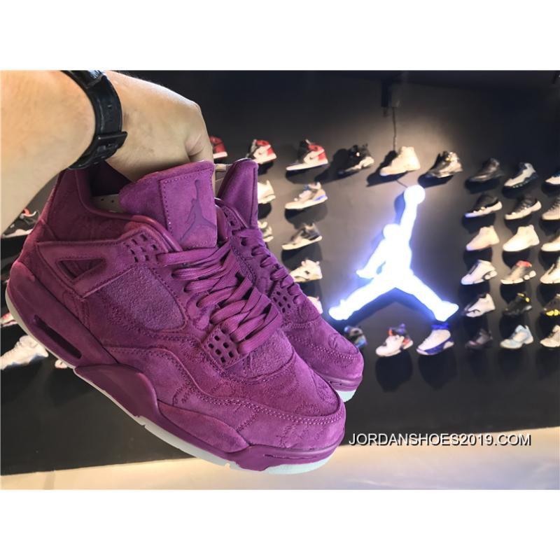 2019 Free Shipping KAWS X Air Jordan 4 Violet Purple Glow In The Dark  Sole