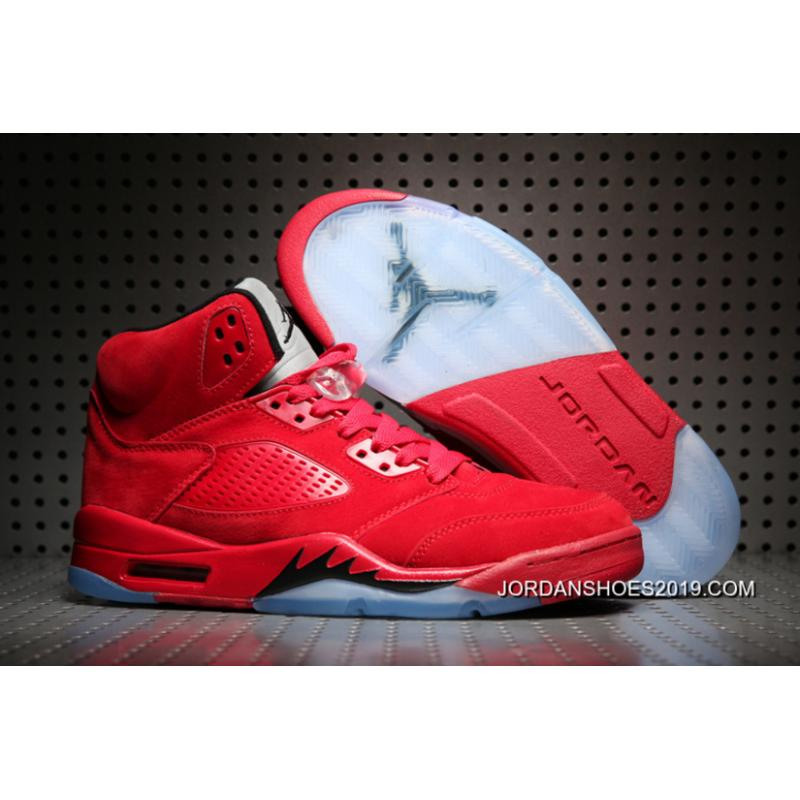 "nuevo estilo outlet Moda Air Jordan 5 ""Red Suede"" University Red/Black 2019 New Release ..."