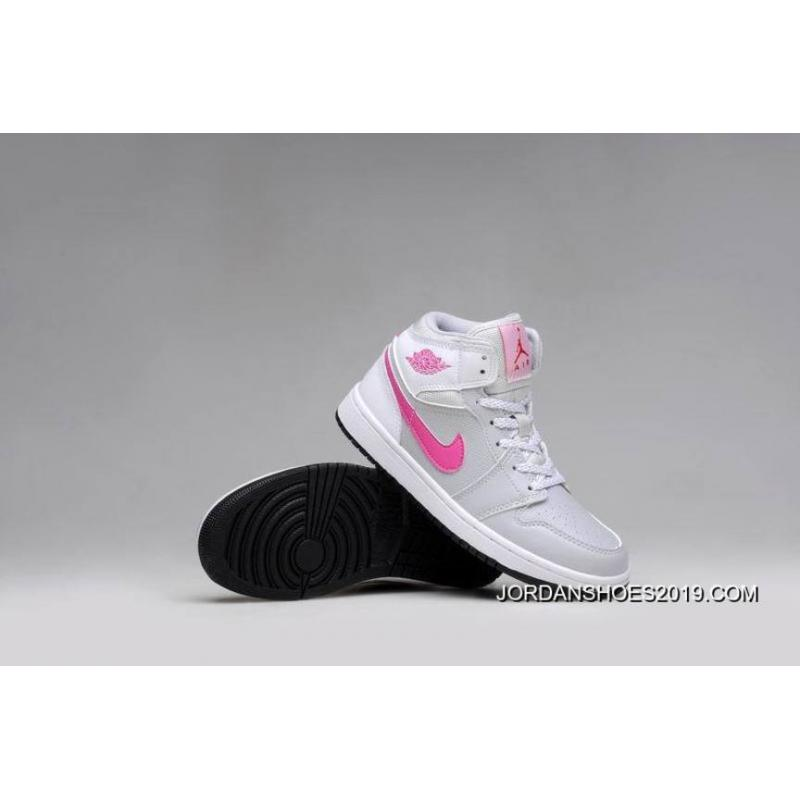 54189de97f2 2019 For Sale Air Jordan 1 GS Grey Pink White Shoes, Price: $87.77 ...