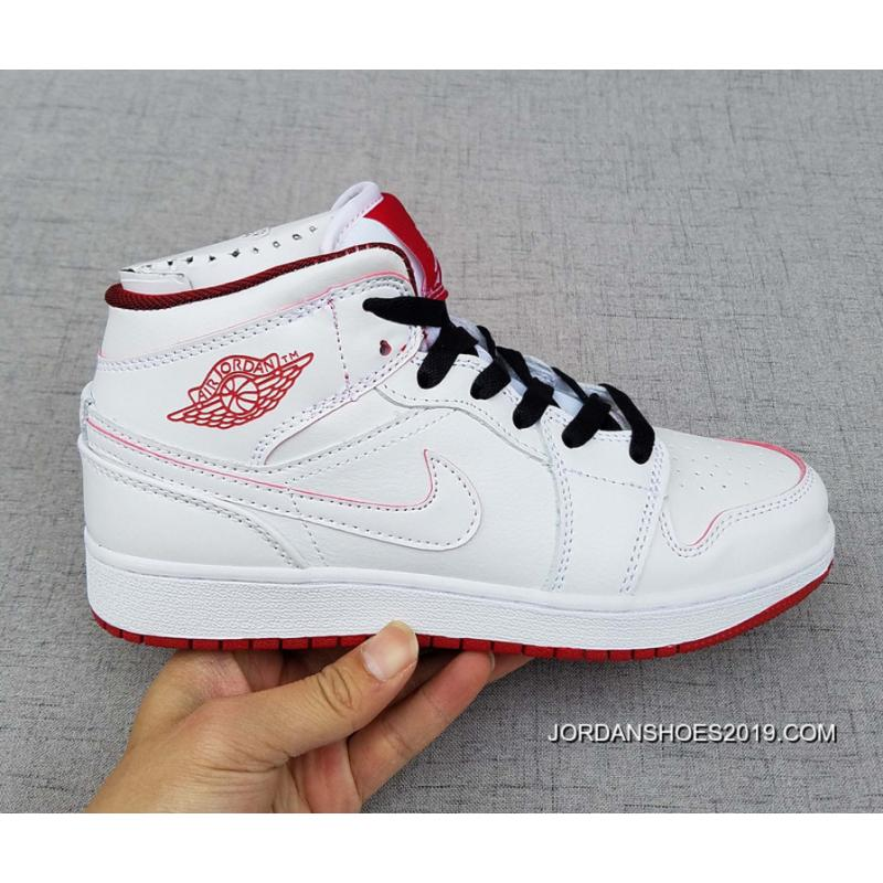 Womens Nike Air Jordan 1 Flight 2 Girls BlackWhiteGym Red Top Deals