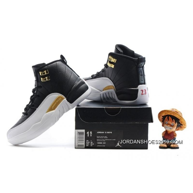 Latest Air Jordan 12 BlackMetallic GoldWhite For Kids