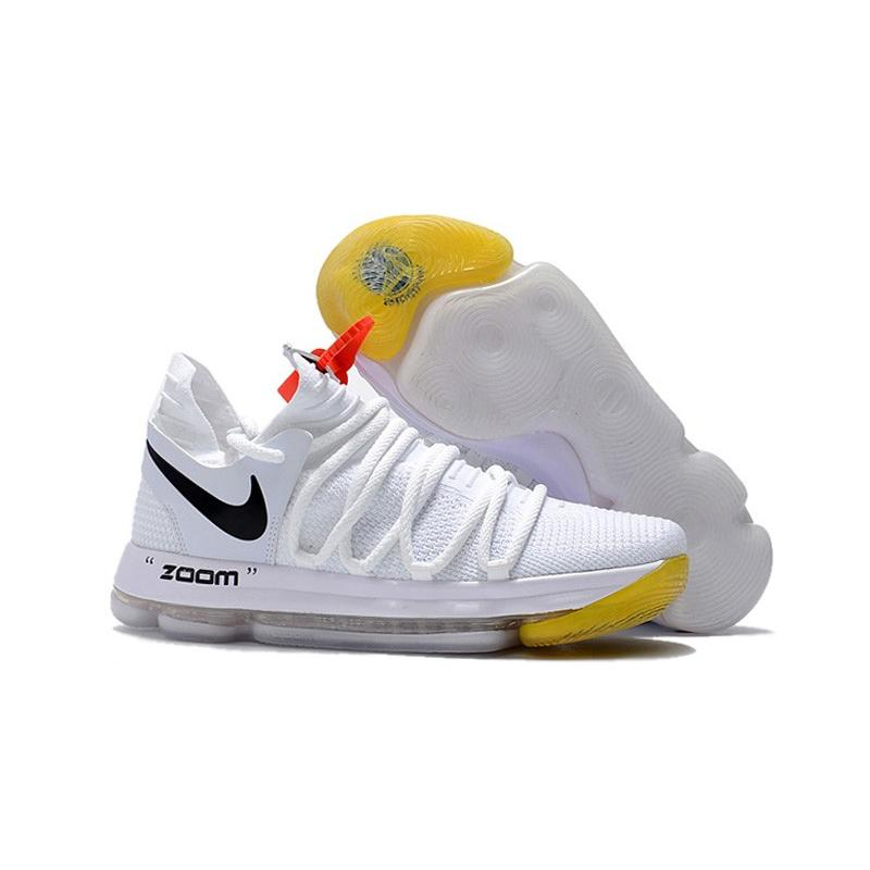 newest ba098 204b4 Off-White X Nike KD 10 White Black Yellow Copuon