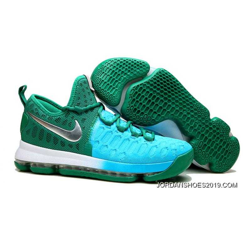 540c2656a1e61 2019 Outlet Nike KD 9 Green Light Blue-Silver ...