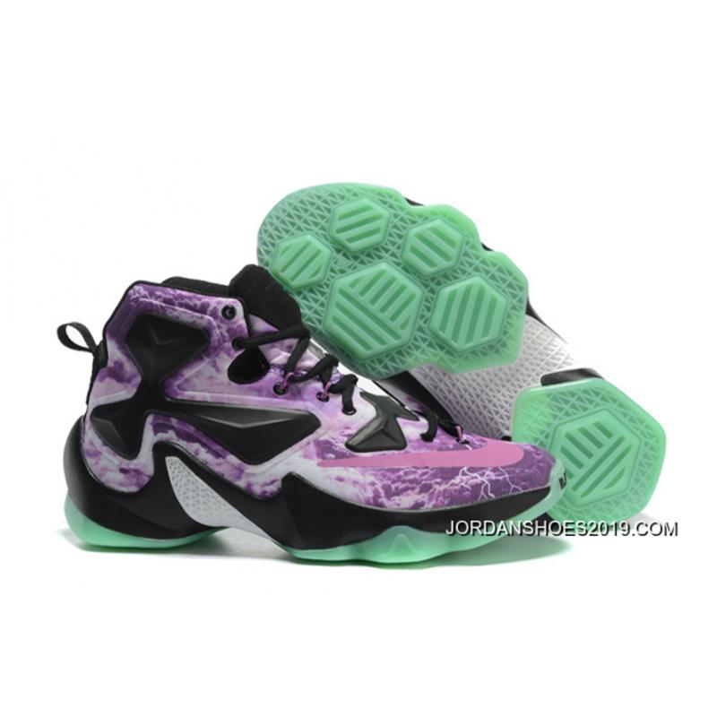 """check out b6641 dfbb4 Nike LeBron 13 """"Galaxy"""" Purple Black Glow In The Dark Basketball Shoes 2019  Discount ..."""