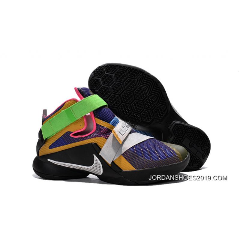 """buy popular cc650 be42c Nike LeBron Soldier 9 """"What The LeBron"""" Multi Color/Black-White Basketball  Shoe 2019 Outlet"""