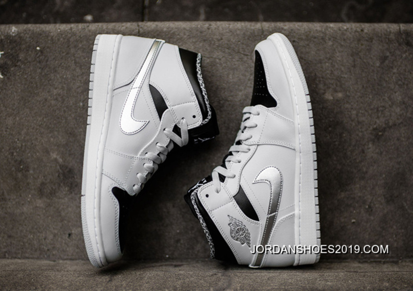 "2ad463d36556 Air Jordan 1 Mid ""Pure Platinum"" 2019 New Release"