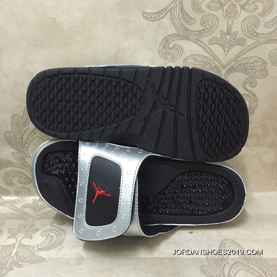 bbf4094c8a7 2019 Super Deals Jordan Hydro 13 Retro 3M Silver Black Red Slide Sandals