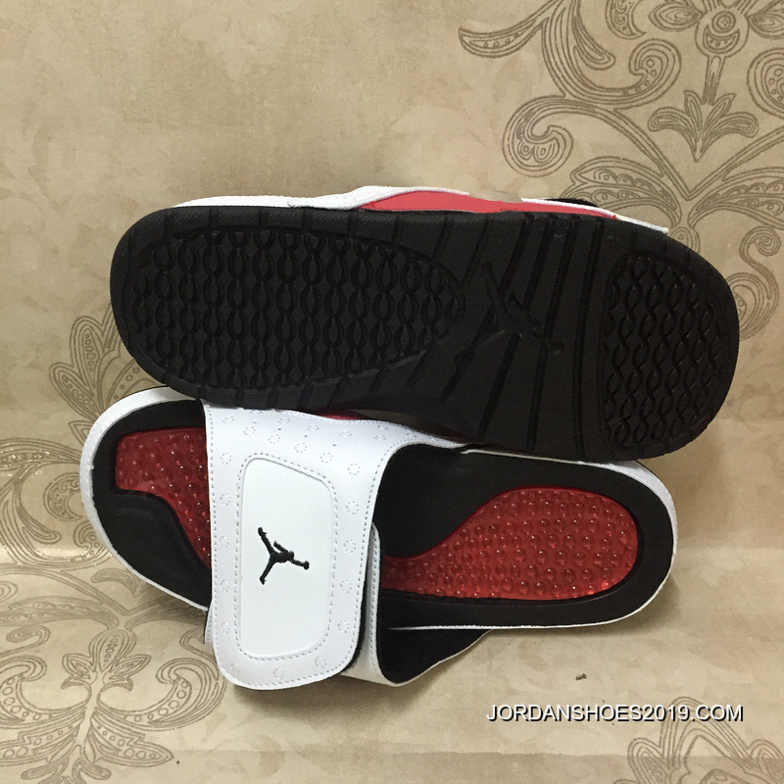 0151e44c13f5 2019 New Style Jordan Hydro 13 Retro White Red Black Slide Sandals ...