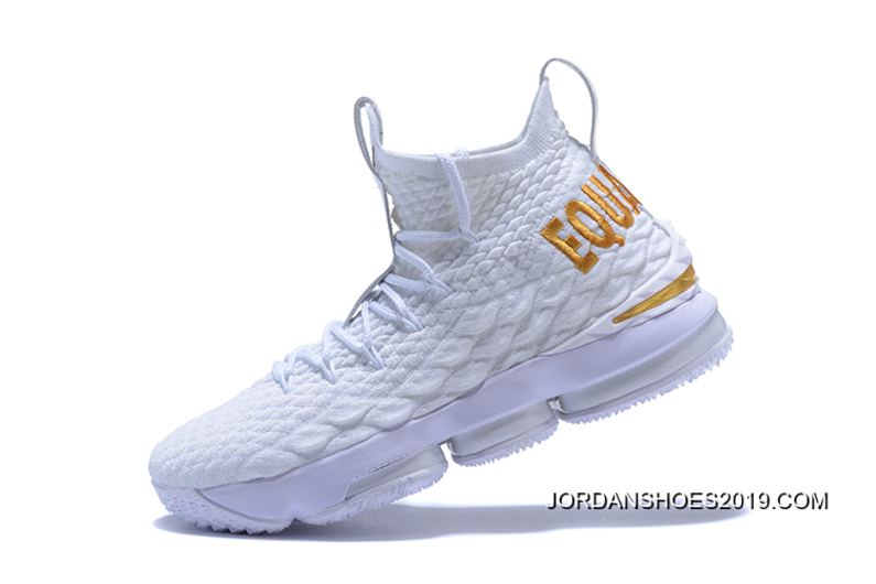 best sneakers aed59 6fc9c Nike LeBron 15  Equality  PE White And Metallic Gold Best