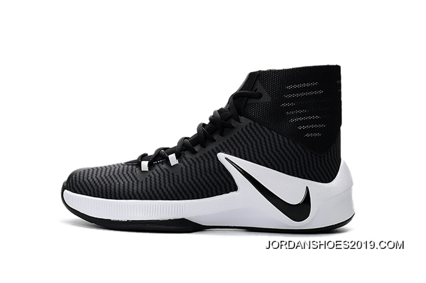 e9c993c387b69 2019 Latest Nike Zoom Clear Out Black White Basketball Shoes